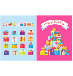 happy holidays posters pile of gift boxes symbols vector image