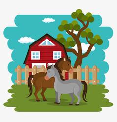 Horses in the farm scene vector