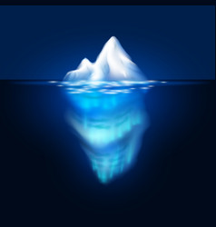 Iceberg on dark background block of ice vector