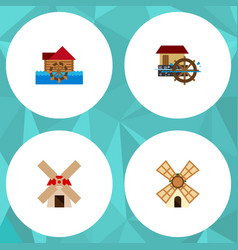 Icon flat alternative set of windmill power vector