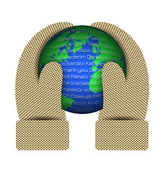 international thank you day hands in knitted vector image