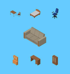 Isometric furniture set of bedstead couch chair vector