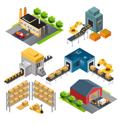 Isometric industrial factory buildings vector