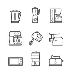 Kitchen appliances line style icon set vector