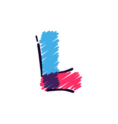 L letter logo hand drawn with a colored pencils vector