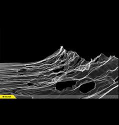 Landscape background terrain cyberspace grid 3d vector