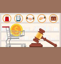 Law firm payment lawyer services purchase flat vector