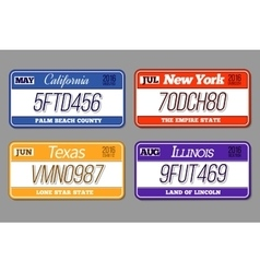 License car number plates set California vector image