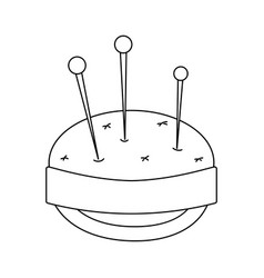 line pin and pincushion sewing tool object vector image
