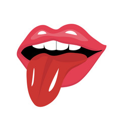 Lips with tongue icon flat style red open mouth vector
