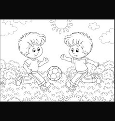 Little football players on a field vector