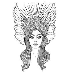 Magic night fairy hand drawn portrait vector