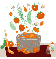 Making vegetarian soup concept pot with vector