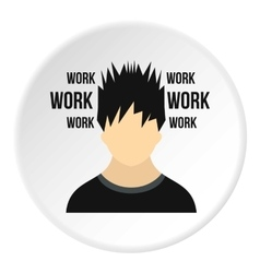 Male avatar and word work icon flat style vector
