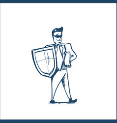man in business suit shield security and vector image