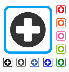 Medical rounded cross framed icon vector