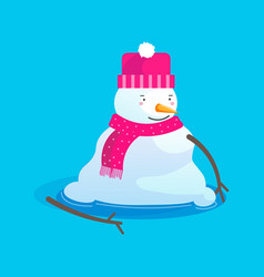 Melting snowman character in hat and scarf vector
