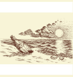 message in a bottle hand drawing a bottle vector image