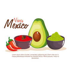 Mexican guacamole and chili pepper sauces vector
