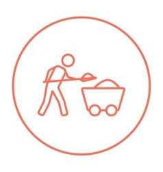 Mining worker with trolley line icon vector image