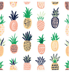 Modern seamless pattern with pineapples of vector