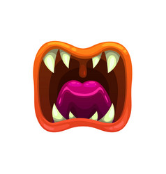 monster mouth creepy roar jaws yelling vector image