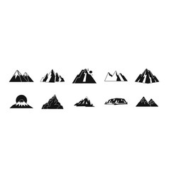 Mountain icon set simple style vector