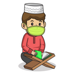 Muslim boy use red dress traditional vector