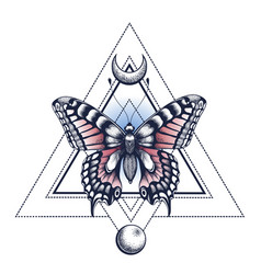 Mystical butterfly pyramid and moontattoo design vector