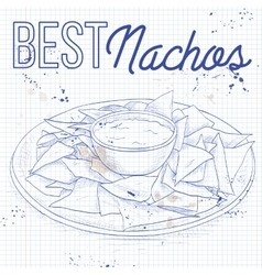 Nachos recipe on a notebook page vector