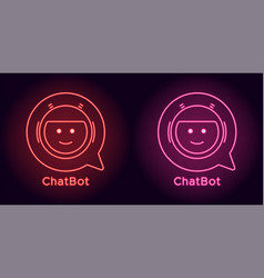 neon chat bot in red and pink color vector image