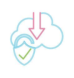 Neon line cloud data downloading and padlock good vector