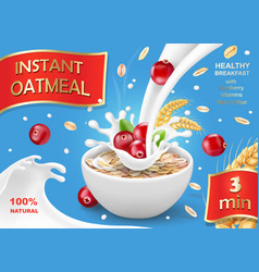 Oat flakes with cranberry oatmeal advertising vector