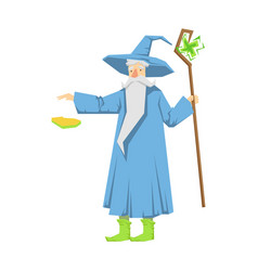 old bearded wizard in a blue pointed hat holding vector image