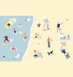 people at beach or seashore relaxing flat cartoon vector image