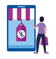 people shopping bag commerce concept vector image