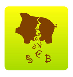pig money bank sign brown icon at green vector image