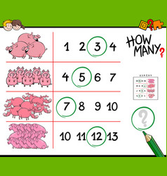 pigs counting game cartoon vector image