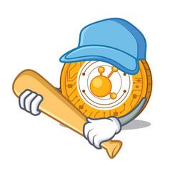 Playing baseball bitconnect coin character cartoon vector