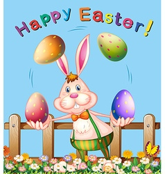 Poster design with easter bunny juggling eggs vector image