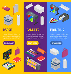 printing signs 3d banner vecrtical set isometric vector image