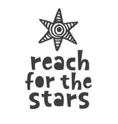 reach for stars scandinavian poster vector image