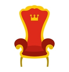 Red royal throne icon flat style vector