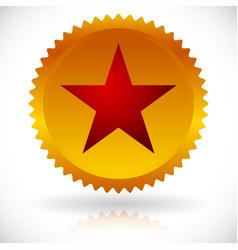 Red star in golden badge award honor prize emblem vector