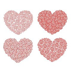 Rose heart collection vector