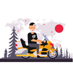 round world trip motorcycle old man character vector image