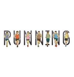 Running text font design marathon runners vector