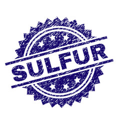 Scratched textured sulfur stamp seal vector