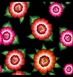 seamless mexican floral embroidery ethnic pattern vector image