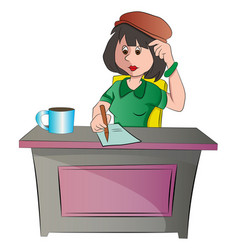 Secretary or woman sitting at a desk vector